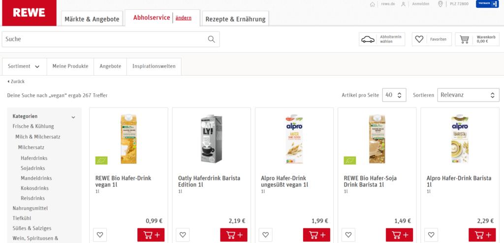Rewe Onlineshop vegane Produkte