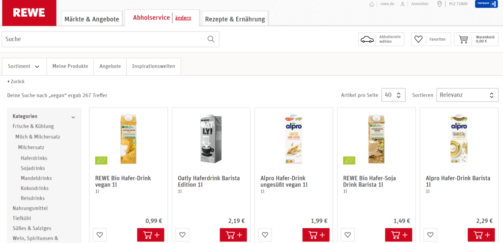 Rewe online vegane Produkte